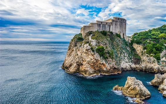 Papéis de Parede Croácia, dubrovnik, fortaleza, pedras, mar