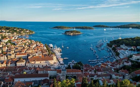 Papéis de Parede Croácia, hvar, cidade, topo, vista, casas, mar, costa