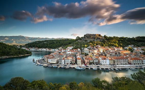 Papéis de Parede Croácia, novigrad, cidade, rio, ponte, casas
