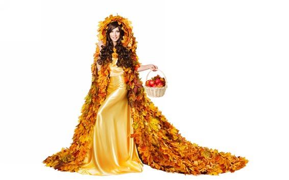 Wallpaper Curly hair girl, maple leaves skirt, apples, white background