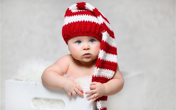 Обои Симпатичный ребенок, голубые глаза, шляпа
