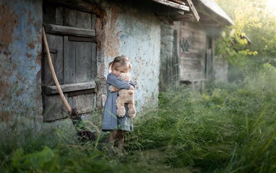 Wallpaper Cute little girl and teddy bear, child, grass, outdoor