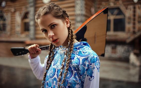 Papéis de Parede Linda garota jovem, tranças, música