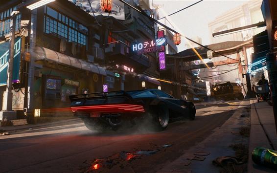Обои Cyberpunk 2077, суперкар, скорость, город, Япония
