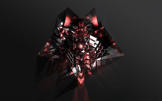 Wallpaper Dark red, crystal, 3D rendering