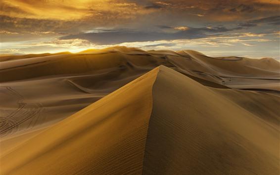 Wallpaper Desert, dunes, clouds, sunset