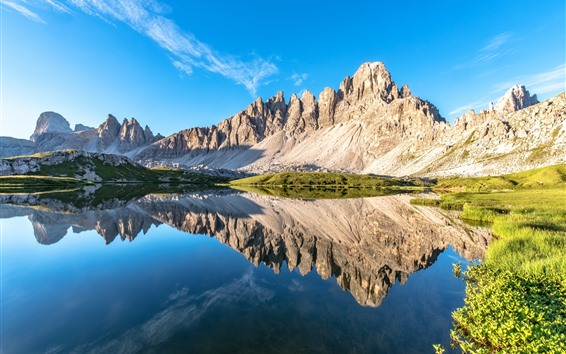 Wallpaper Dolomites, Alps, lake, water reflection