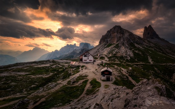 Wallpaper Dolomites, mountains, snow, evening, clouds