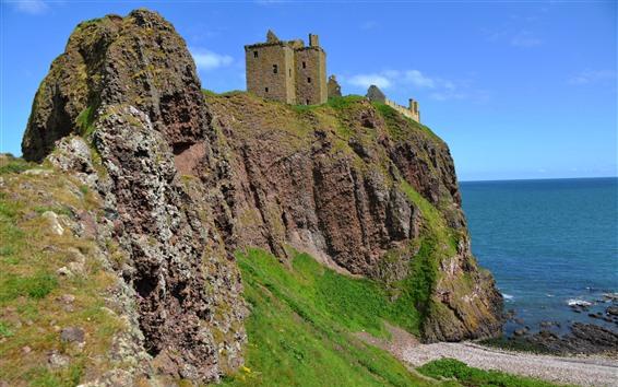 Fondos de pantalla Dunnottar Castle, Inglaterra, costa, mar, rocas