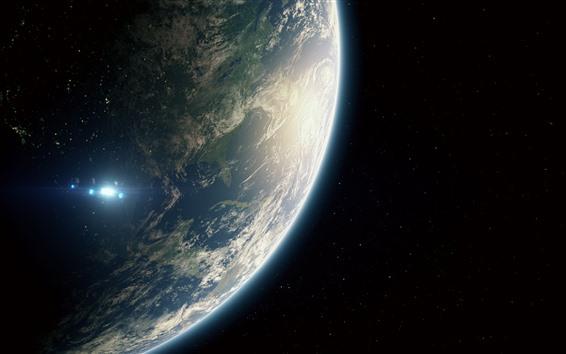 Wallpaper Earth, planet, spaceship, universe