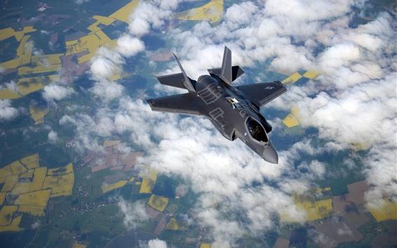 Papéis de Parede Vôo do lutador F-35B no céu, nuvens