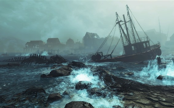 Wallpaper Fallout 4: Far Harbor, boat, sea, storm