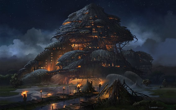 Wallpaper Fantasy art, Marsh Fortress, houses, clouds, fire, night