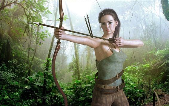 Wallpaper Fantasy girl, archer, bow, jungle