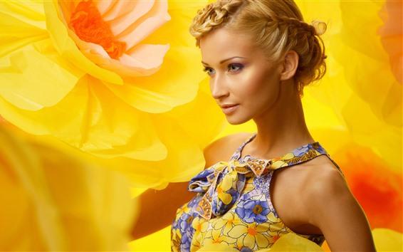 Wallpaper Fashion blonde girl, yellow flower background