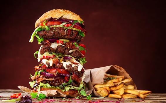 Wallpaper Fast food, big hamburger, french fries