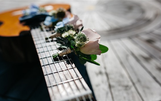 Wallpaper Flowers, guitar, strings