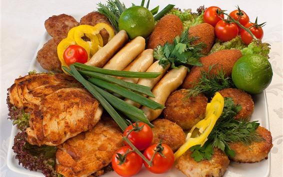 Wallpaper Food, bread, tomato, meat, limes