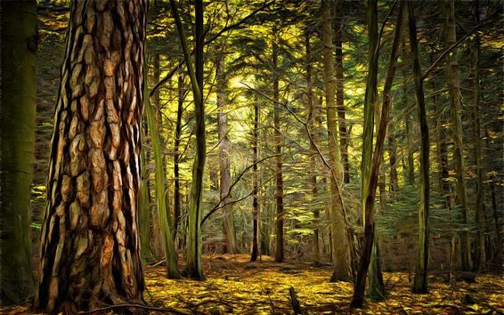 壁紙 森林、木々、アートスタイル