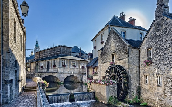 Wallpaper France, Normandy, water mill, houses