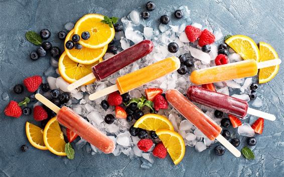 Wallpaper Fruit popsicle, ice cubes, orange slice, strawberry, blueberry