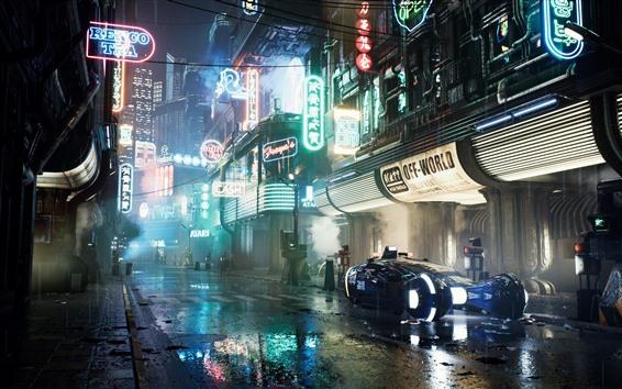Papéis de Parede Cidade do futuro, noite, estrada, carro, luzes