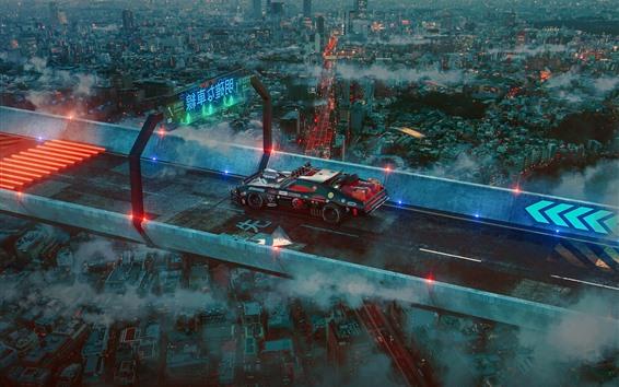 배경 화면 미래의 도시, 도로, 초차, 일본