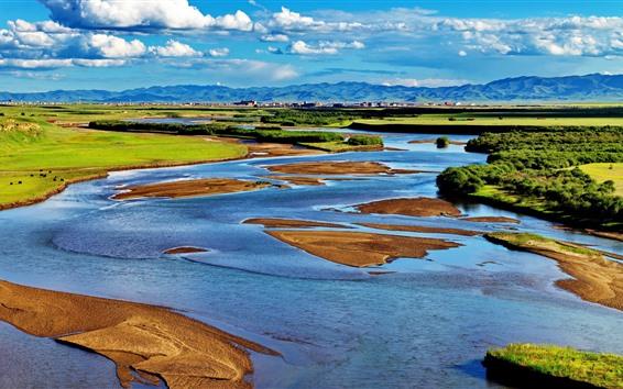 Обои Ганнан, красивый пейзаж природы, горы, река, деревья, облака, Китай