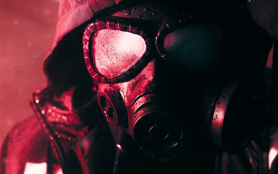 Wallpaper Gas mask, water droplets, sci-fi