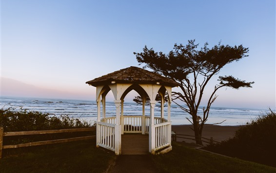 Wallpaper Gazebo, tree, sea