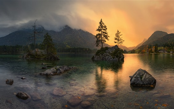 Papéis de Parede Alemanha, bayern, lago, pedras, árvores, anoitecer