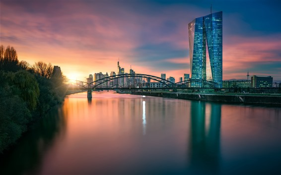 Wallpaper Germany, Frankfurt, Hesse, European Central Bank, river, bridge, dusk
