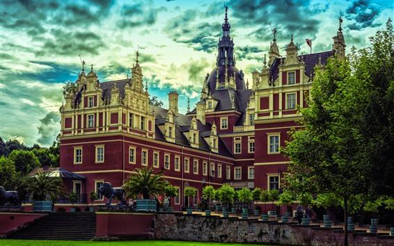 Papéis de Parede Alemanha, Muskau, parque, castelo, árvores, prado, nuvens