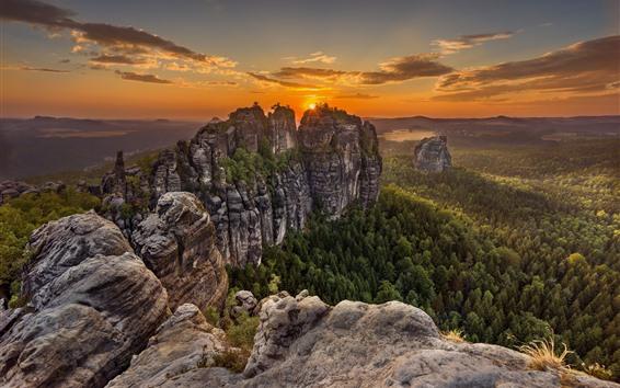 Papéis de Parede Alemanha, saxon, suíça, montanhas, árvores, nuvens, pôr do sol
