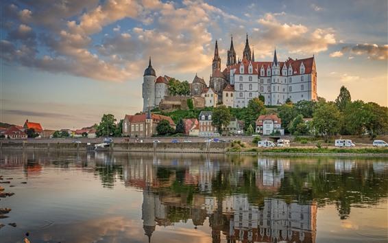 Обои Германия, Саксония, город, замок, река
