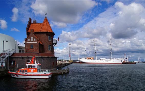 Wallpaper Germany, Stralsund, sailboat, port, clouds, sea