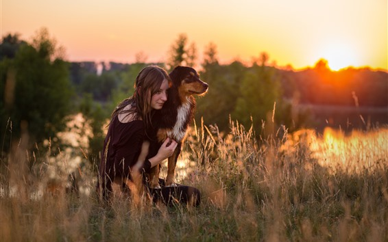 Wallpaper Girl and dog, grass, morning