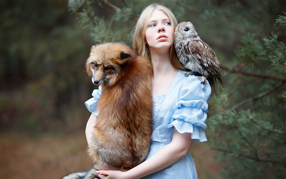 Wallpaper Girl and fox, owl, friends