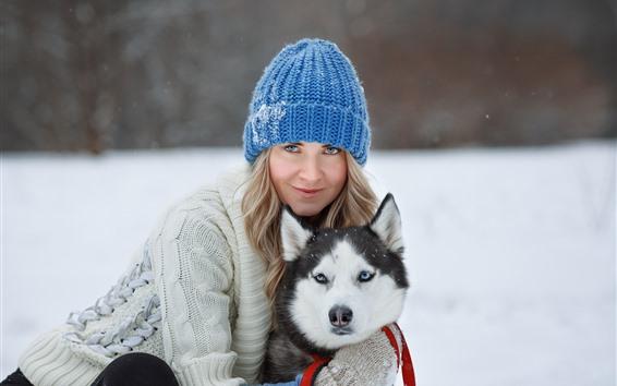 Wallpaper Girl and husky, dog, winter