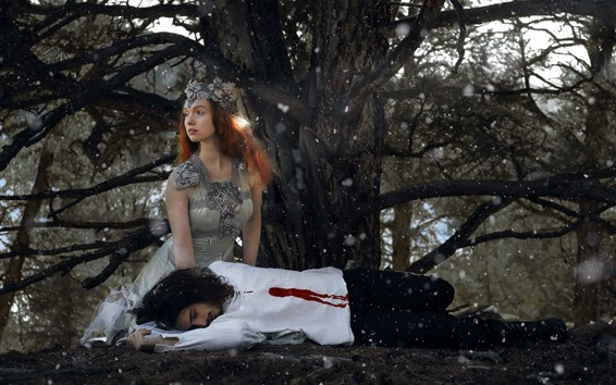 Wallpaper Girl and man, blood, under tree