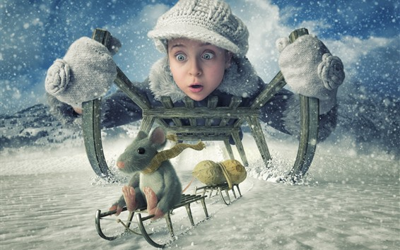 Wallpaper Girl and mouse, sled, winter, snow, peanuts, creative picture
