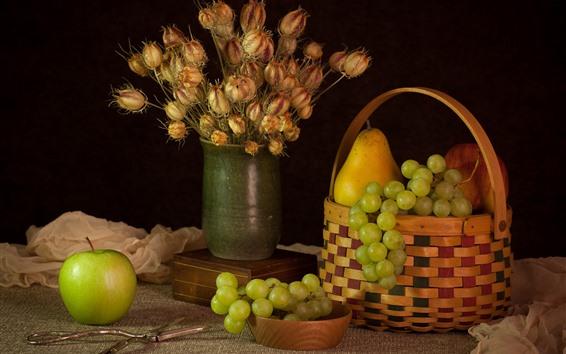 Hintergrundbilder Grüner Apfel und Trauben, Birne, Blumen, Frucht