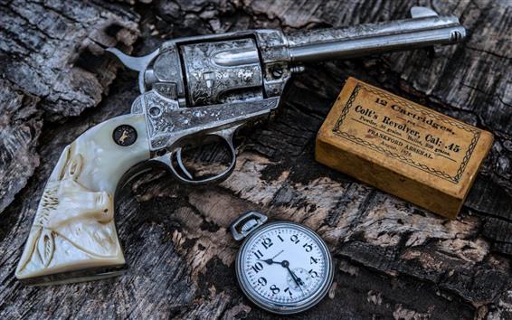 Papéis de Parede Arma, relógio de bolso, arma