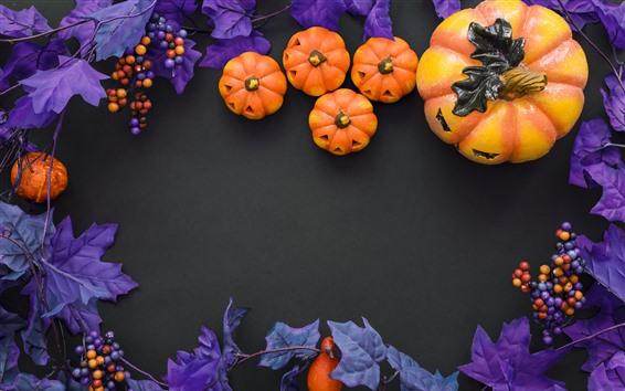 Fond d'écran Halloween, citrouille, baies, décoration