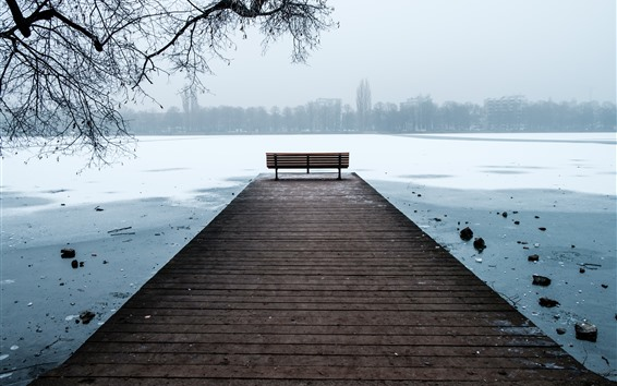 Wallpaper Hannover, Germany, river, bench, ice, winter