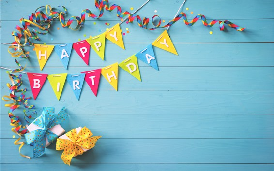 Wallpaper Happy Birthday, colorful flags, gifts, ribbons