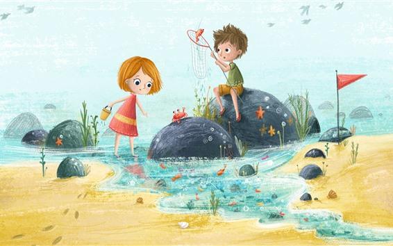 Papéis de Parede Childs feliz, menina e menino, pesca, pintura de arte
