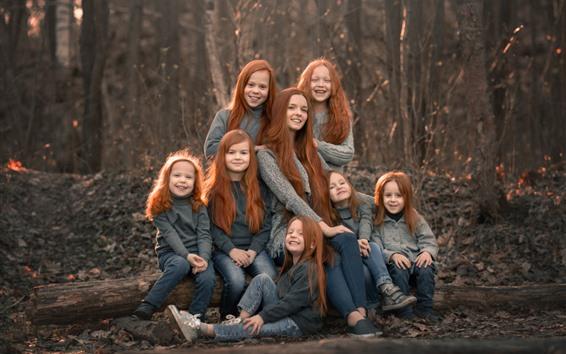 Papéis de Parede Meninas felizes, cabelo vermelho, crianças