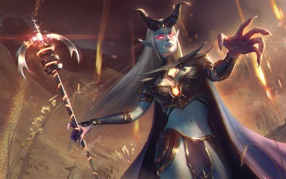 Wallpaper Heroes of Newerth, girl, horns