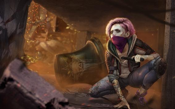 Wallpaper Homefront: The Revolution, girl, mask, gun